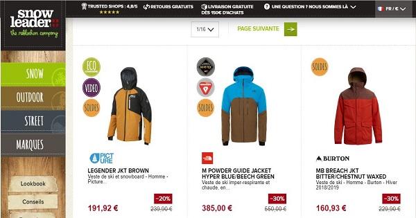 Où acheter une veste de ski pour homme - Snowleader