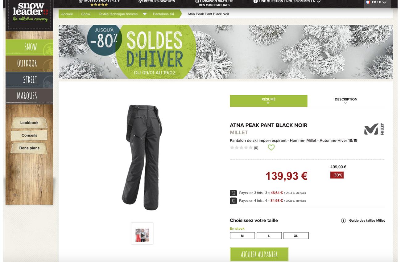 acheter un pantalon de ski pour homme